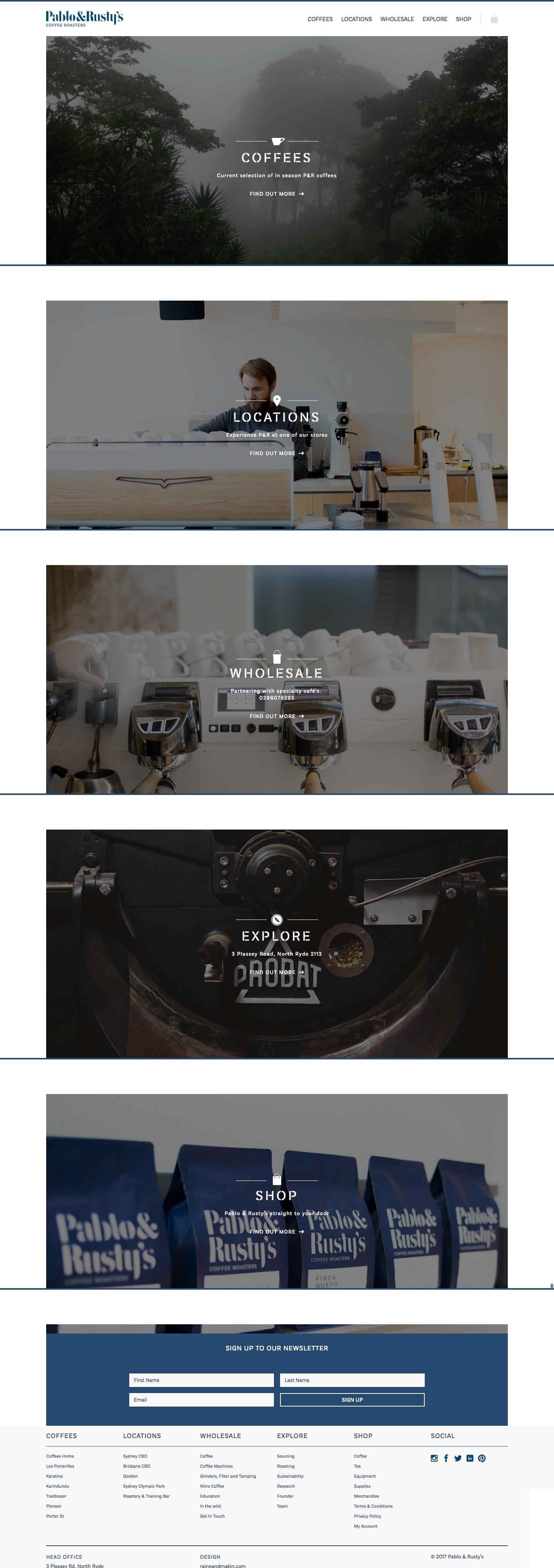 eCommerce website: Pablo & Rusty's