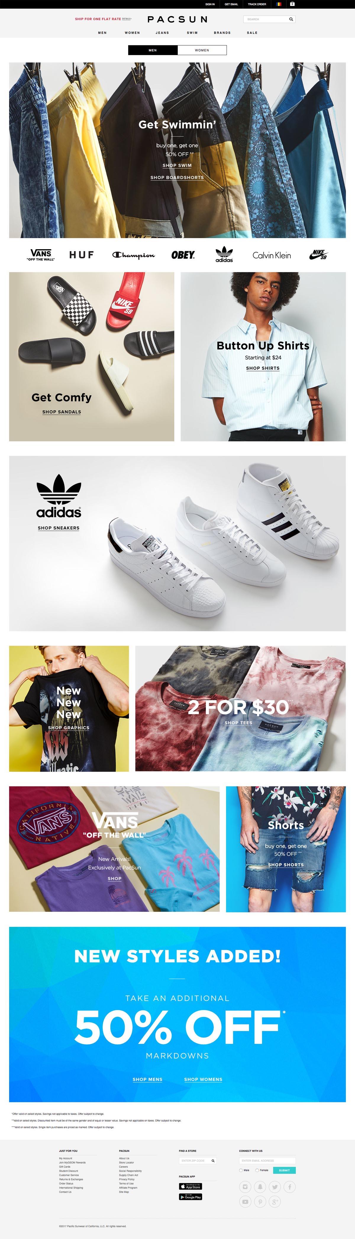 eCommerce website: PacSun