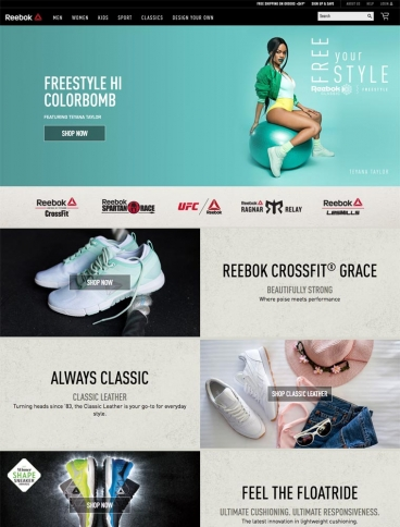 eCommerce website: Reebok