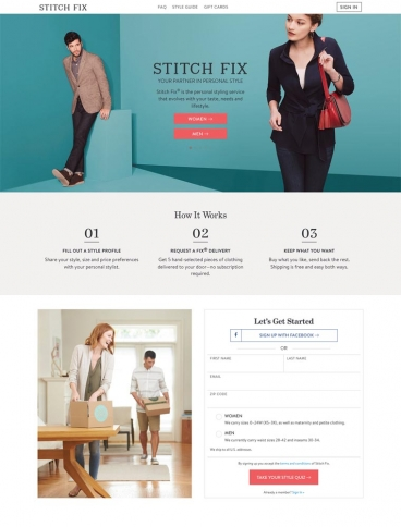 eCommerce website: Stitch Fix