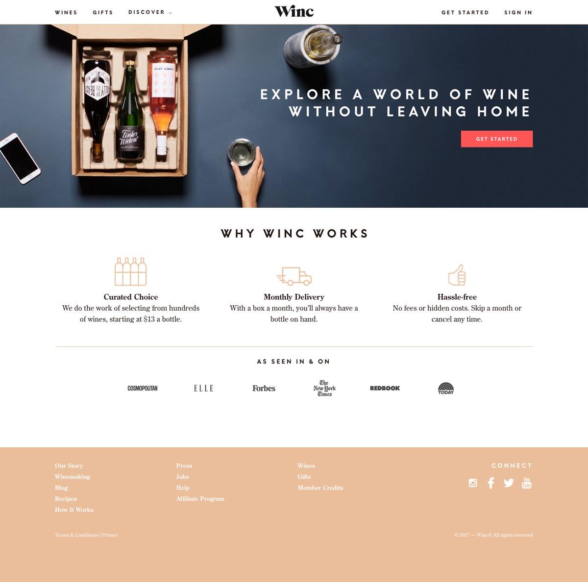 eCommerce website: Winc