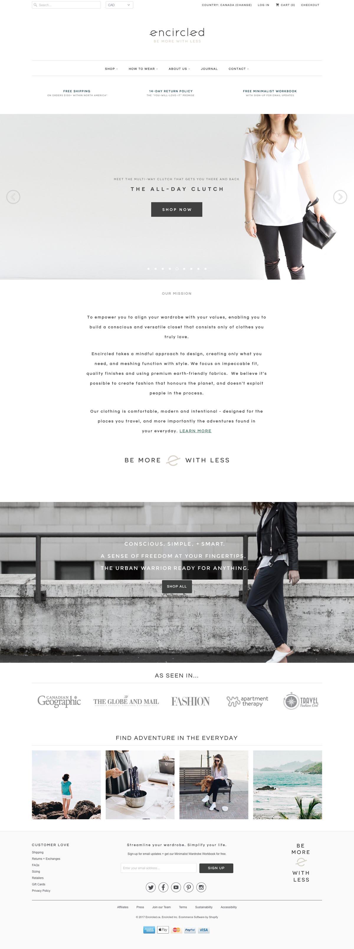 eCommerce website: encircled