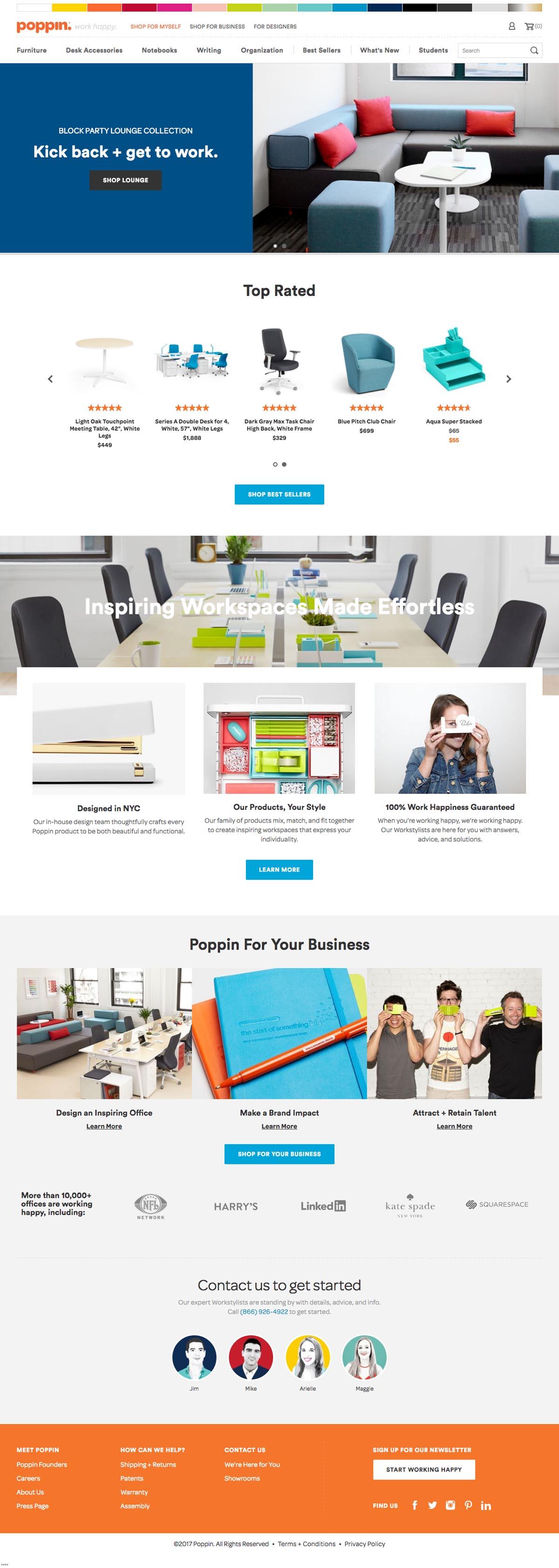 eCommerce website: Poppin