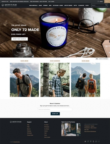 eCommerce website: United By Blue