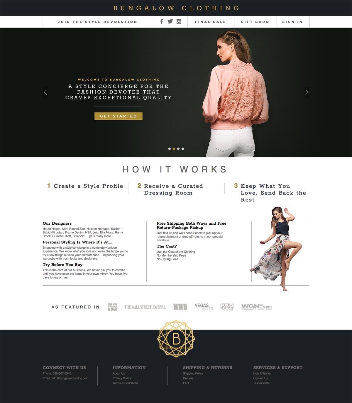 eCommerce website: Bungalow Clothing