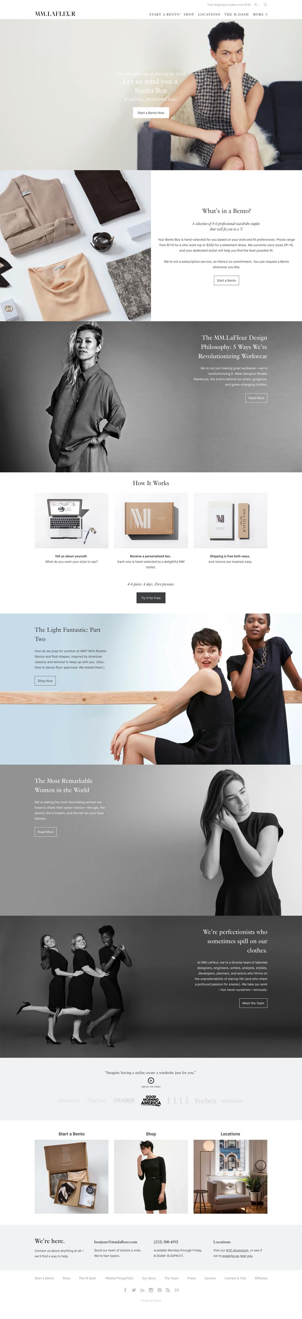 eCommerce website: MM LaFleur