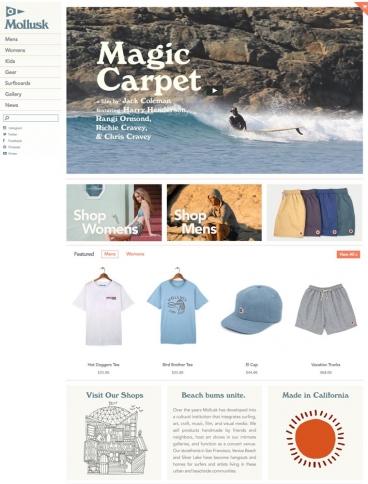eCommerce website: Mollusk Surf Shop