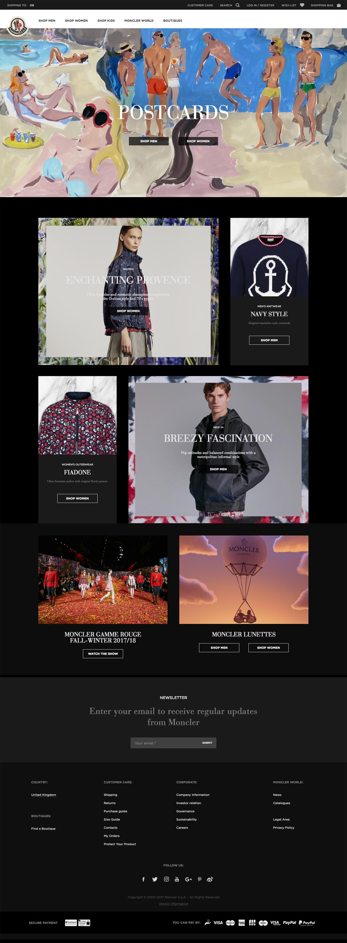 eCommerce website: Moncler