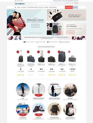 eCommerce website: Samsonite