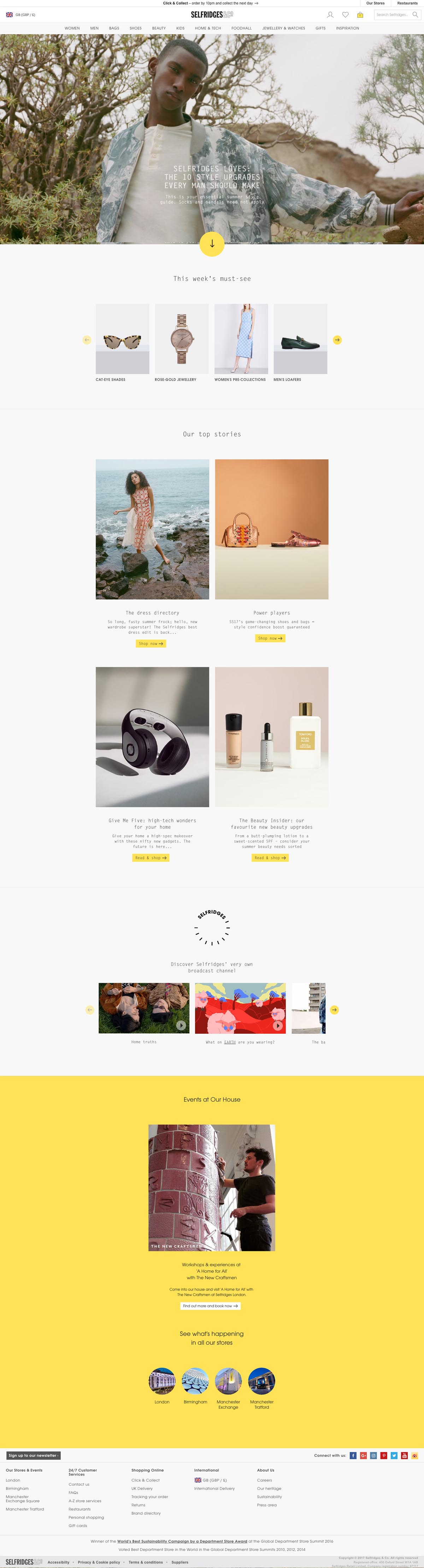 eCommerce website: Selfridges