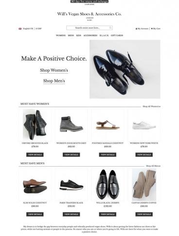 eCommerce website: Wills Vegan Shoes