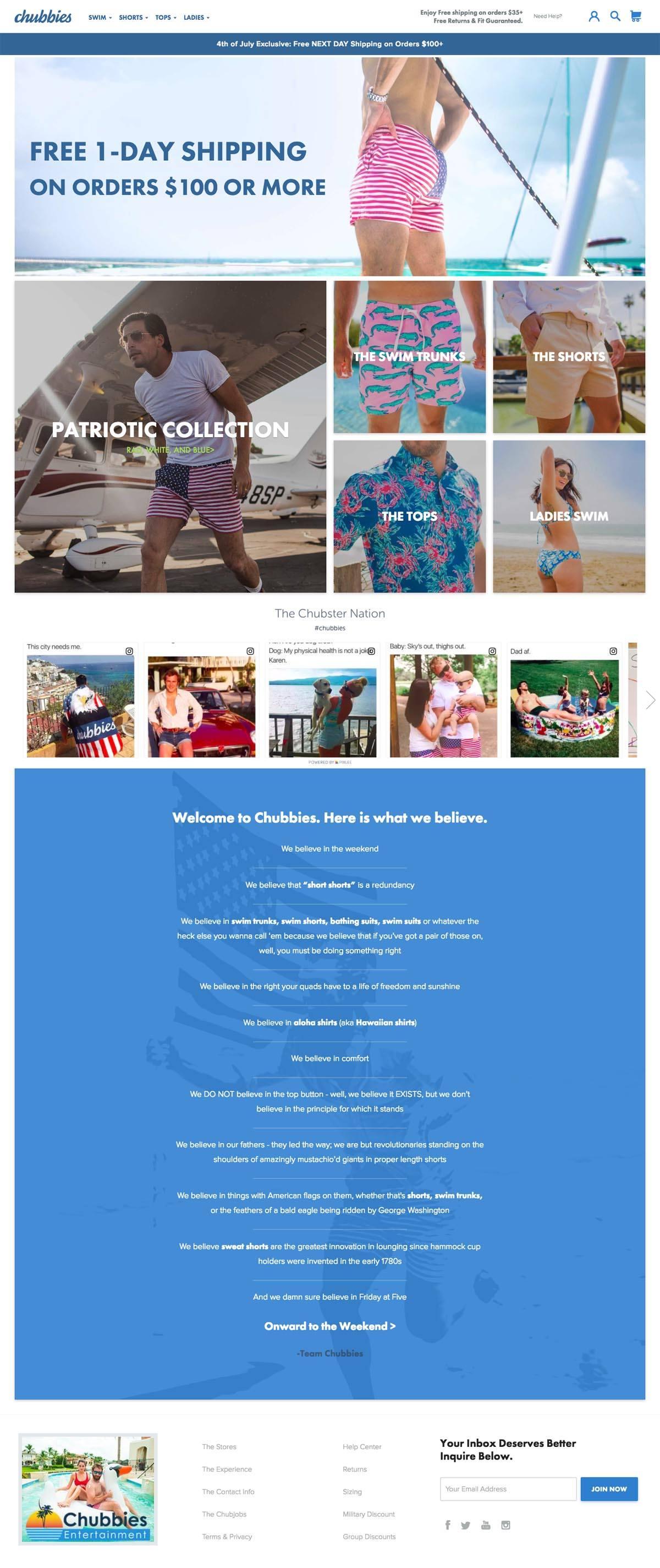eCommerce website: Chubbies