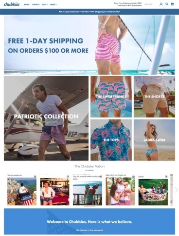 eCommerce website: Chubbies