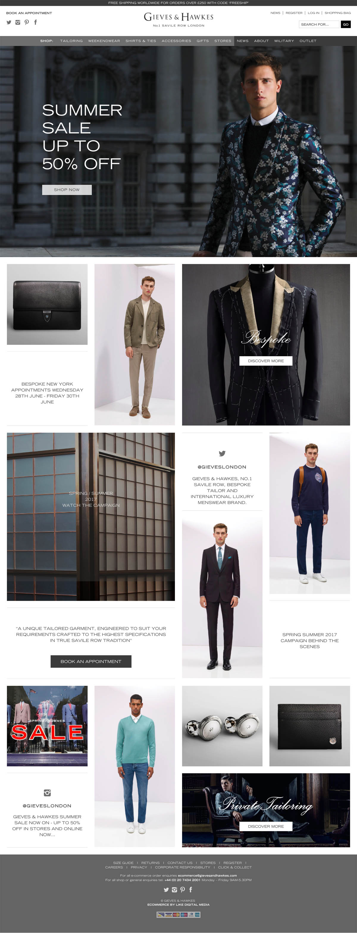 eCommerce website: Gieves & Hawkes