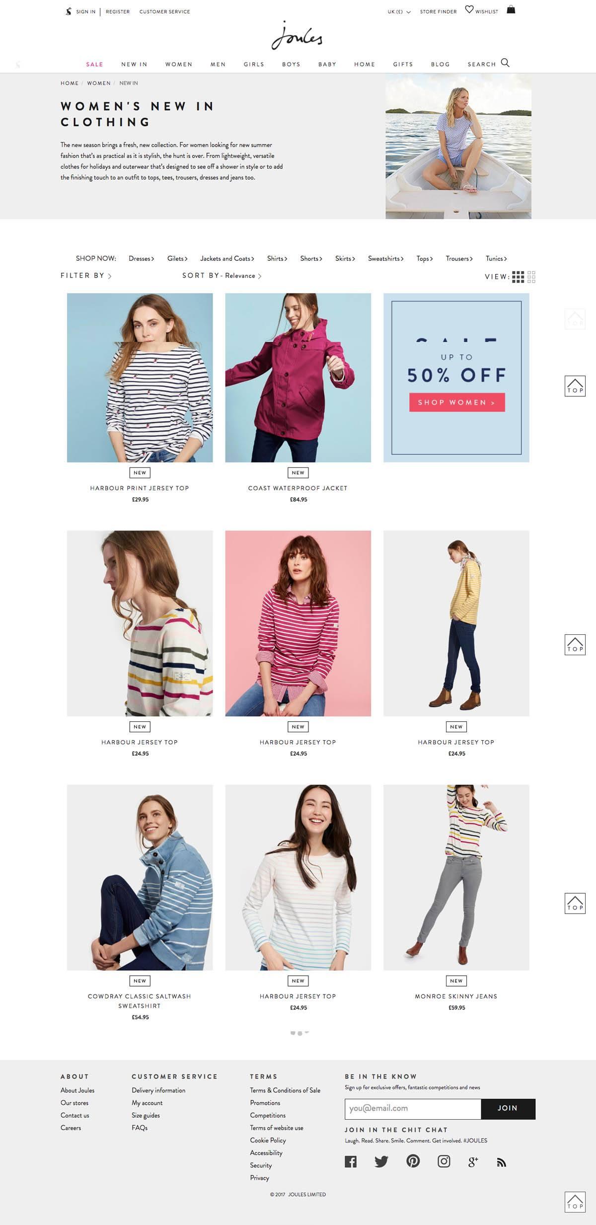 eCommerce website: Joules
