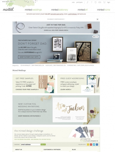 eCommerce website: Minted