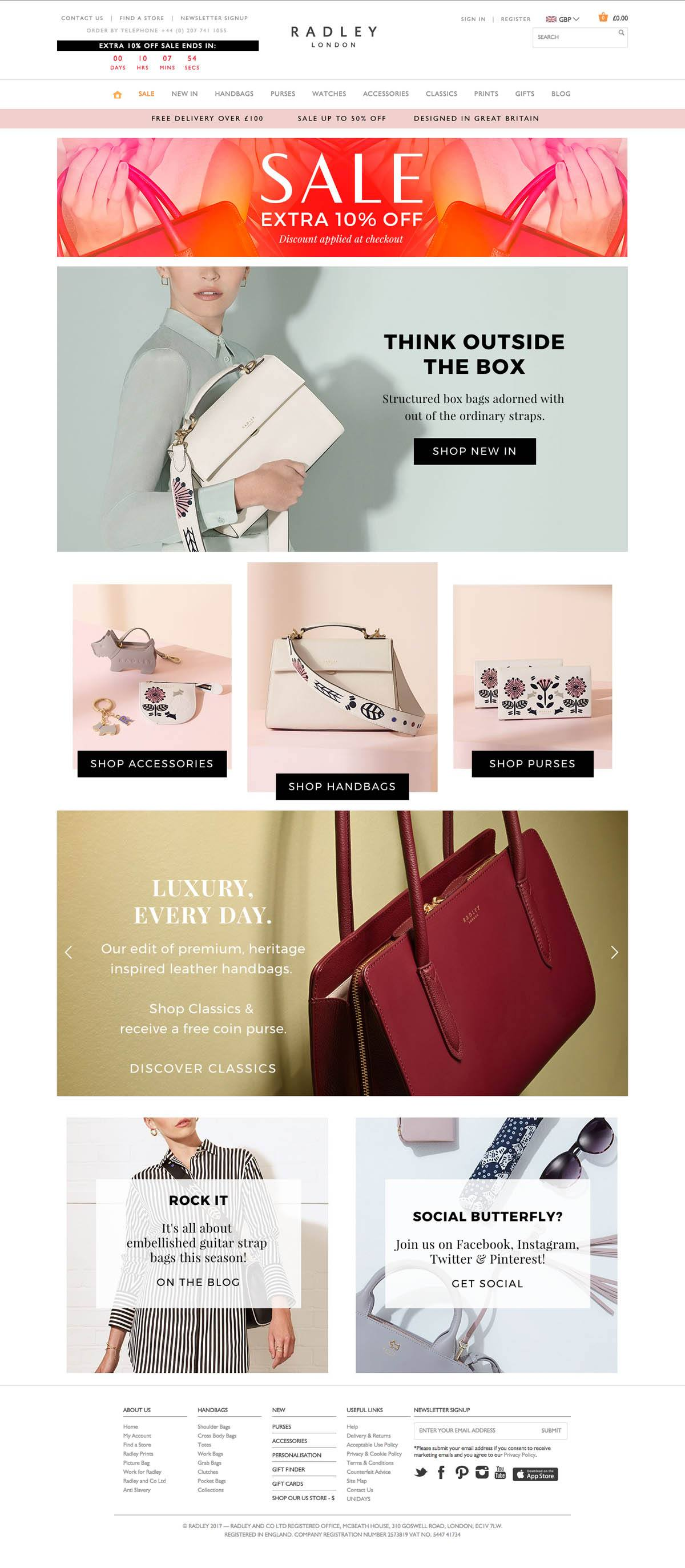 eCommerce website: Radley