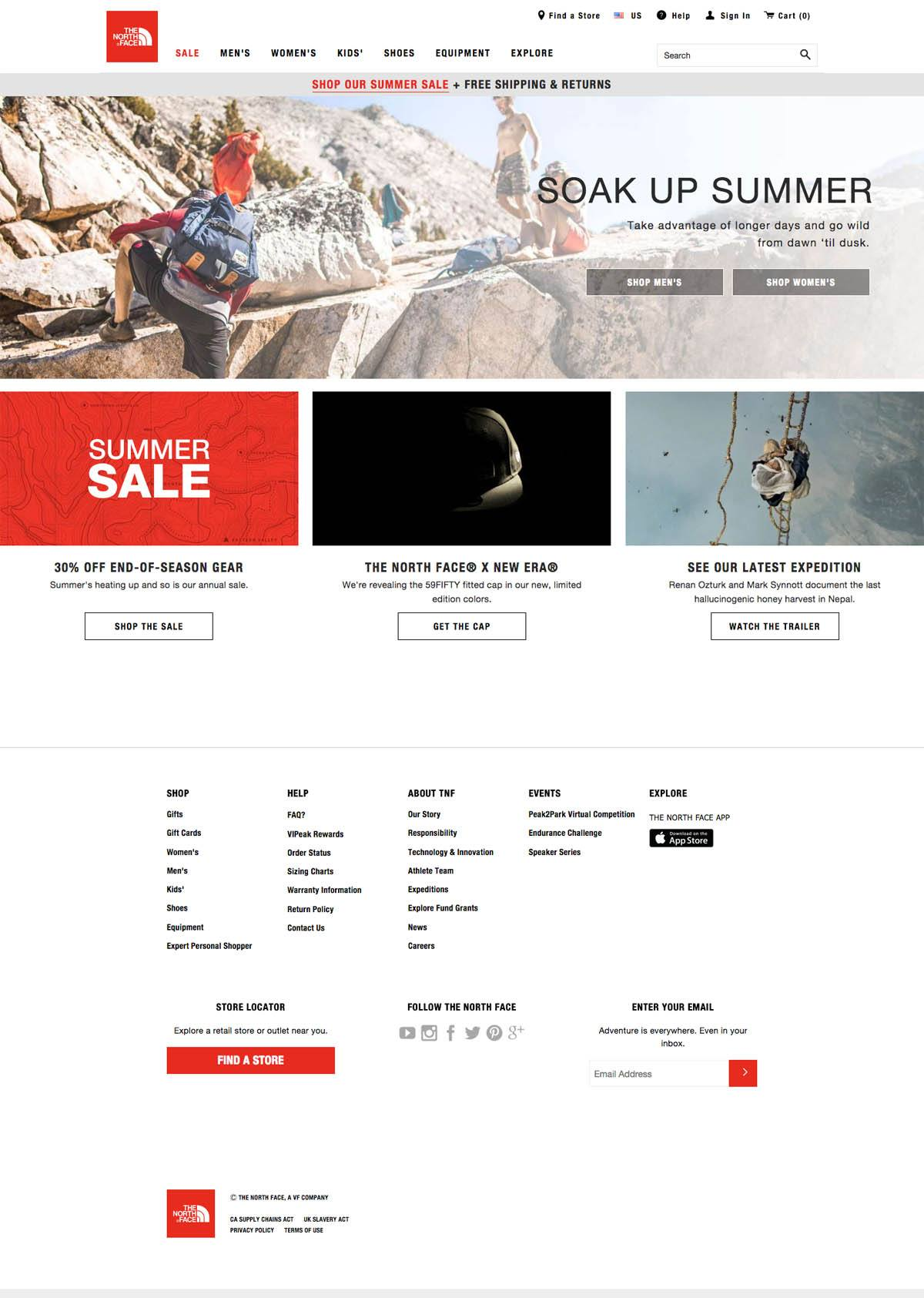 eCommerce website: The North Face