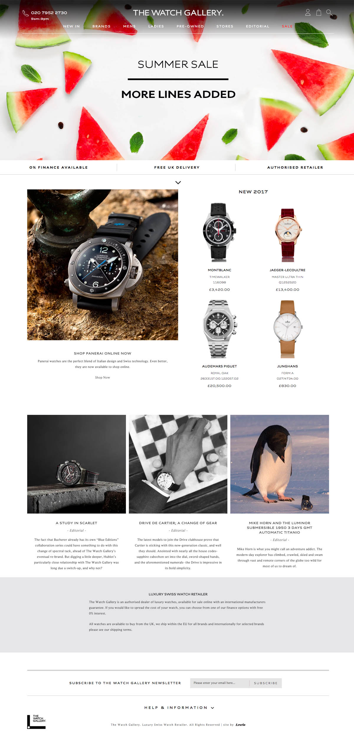 eCommerce website: The Watch Gallery