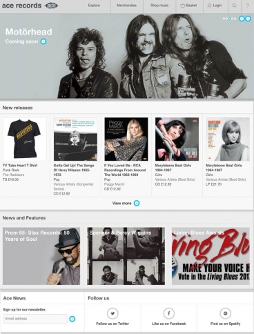 eCommerce website: Ace Records