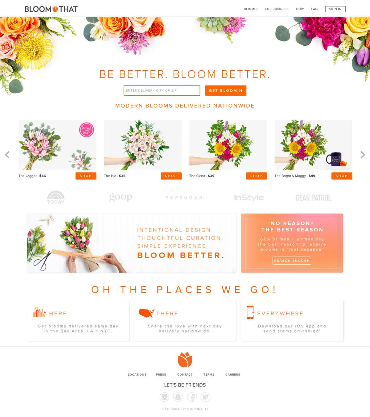eCommerce website: Bloom That