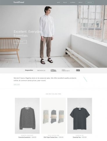 eCommerce website: Form & Thread