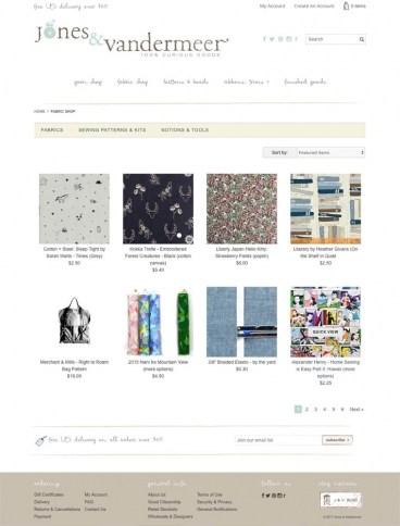 eCommerce website: Jones & Vandermeer