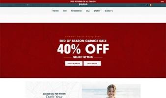 eCommerce website: Prana
