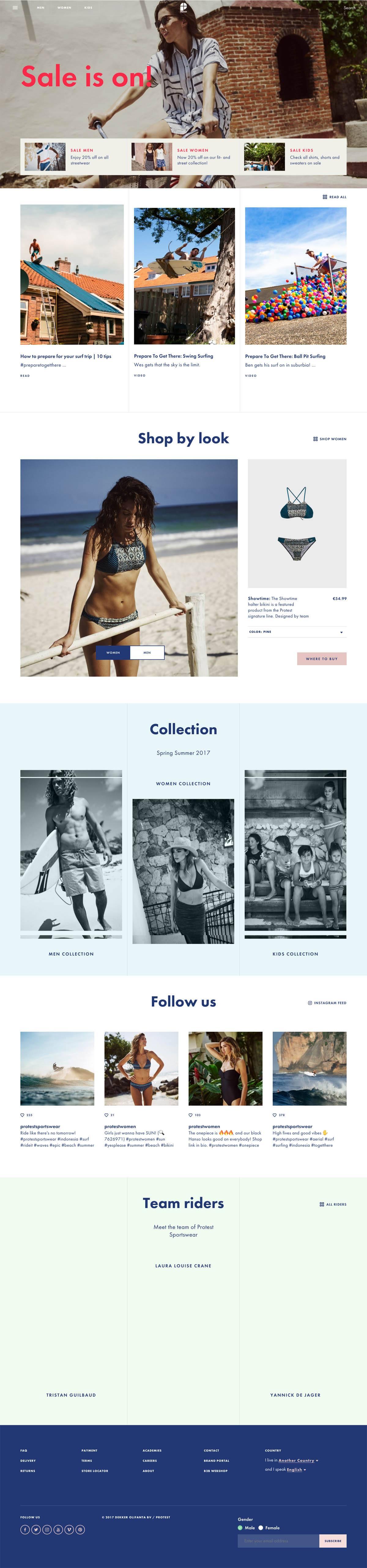 eCommerce website: Protest Boardwear