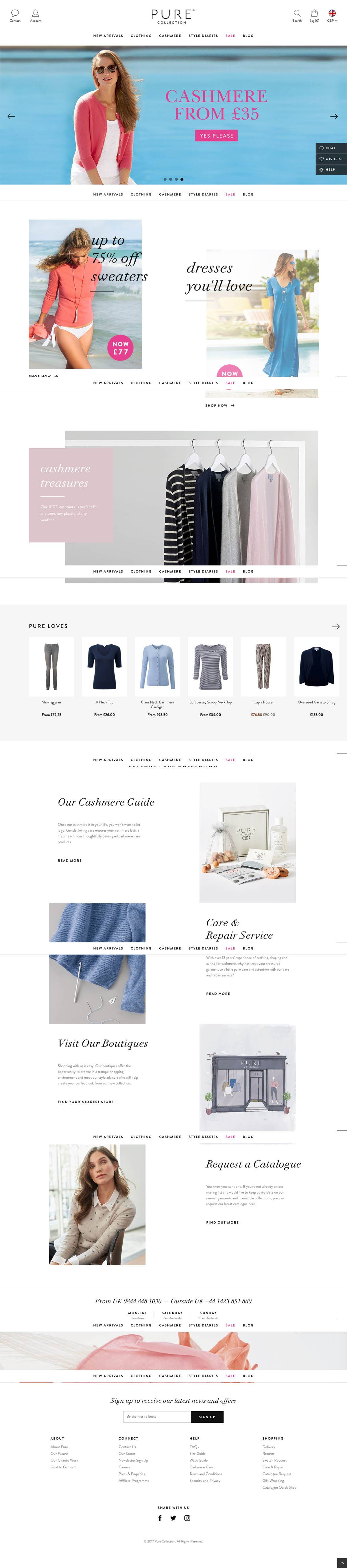 eCommerce website: Pure Collection