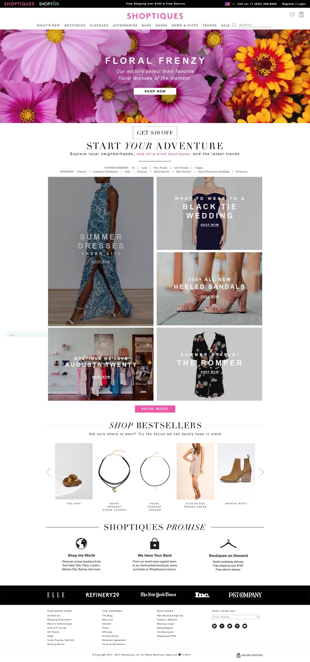 eCommerce website: Shoptiques