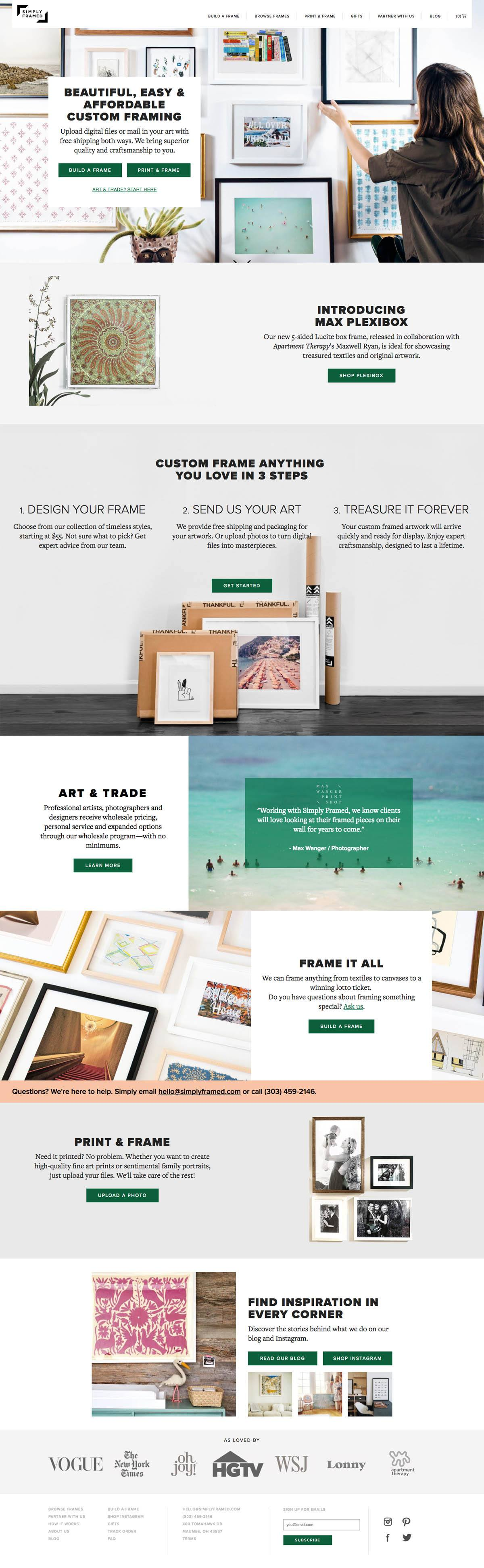 eCommerce website: Simply Framed