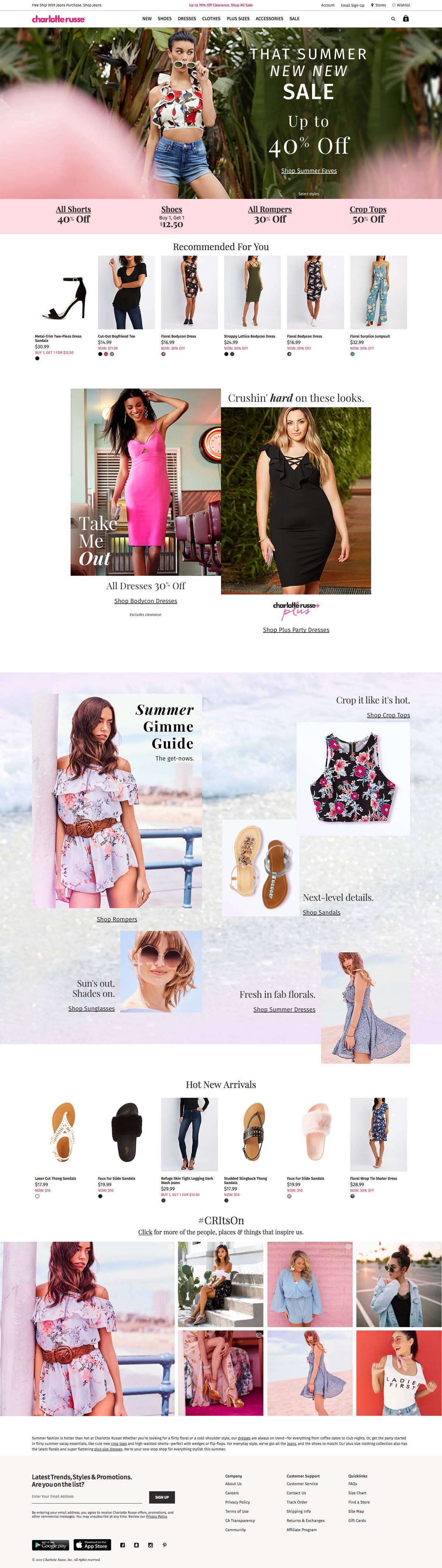 eCommerce website: Charlotte Russe