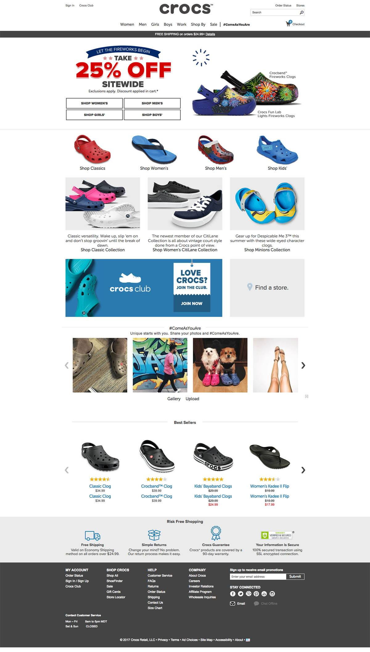 eCommerce website: crocs