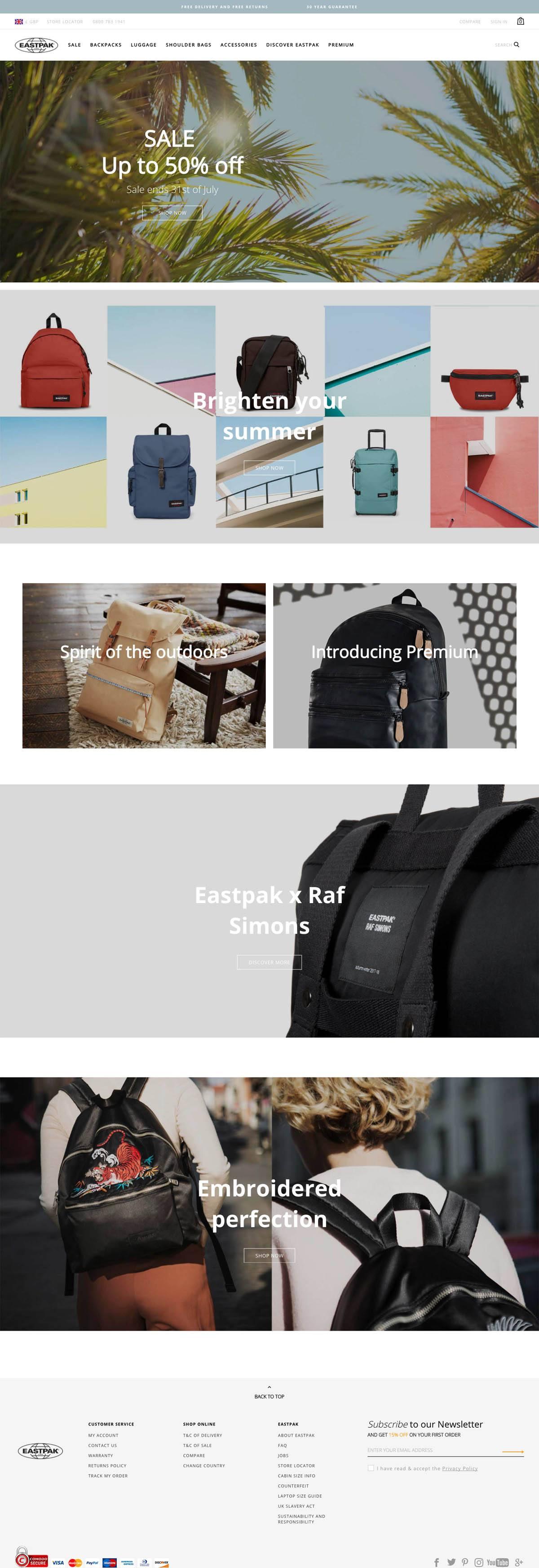 eCommerce website: Eastpak