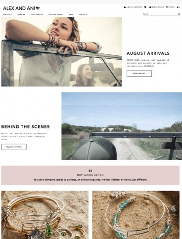 eCommerce website: Alex and Ani