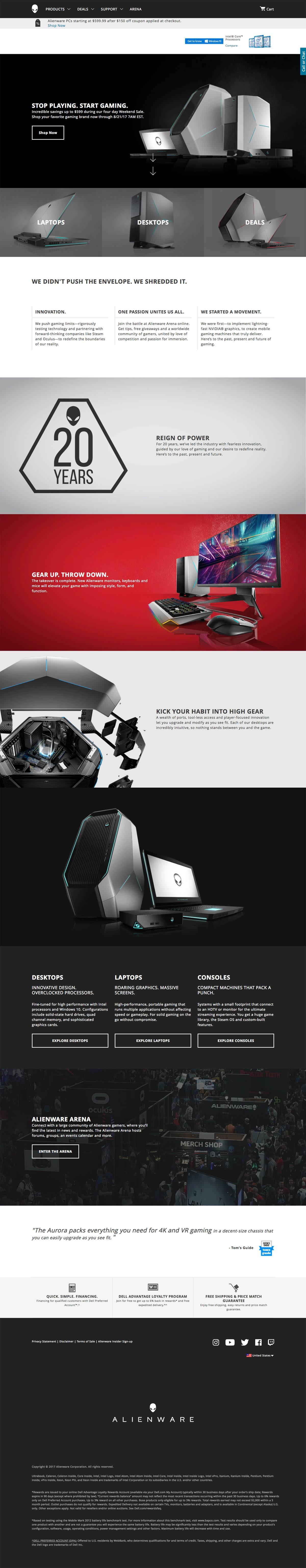 eCommerce website: Alienware