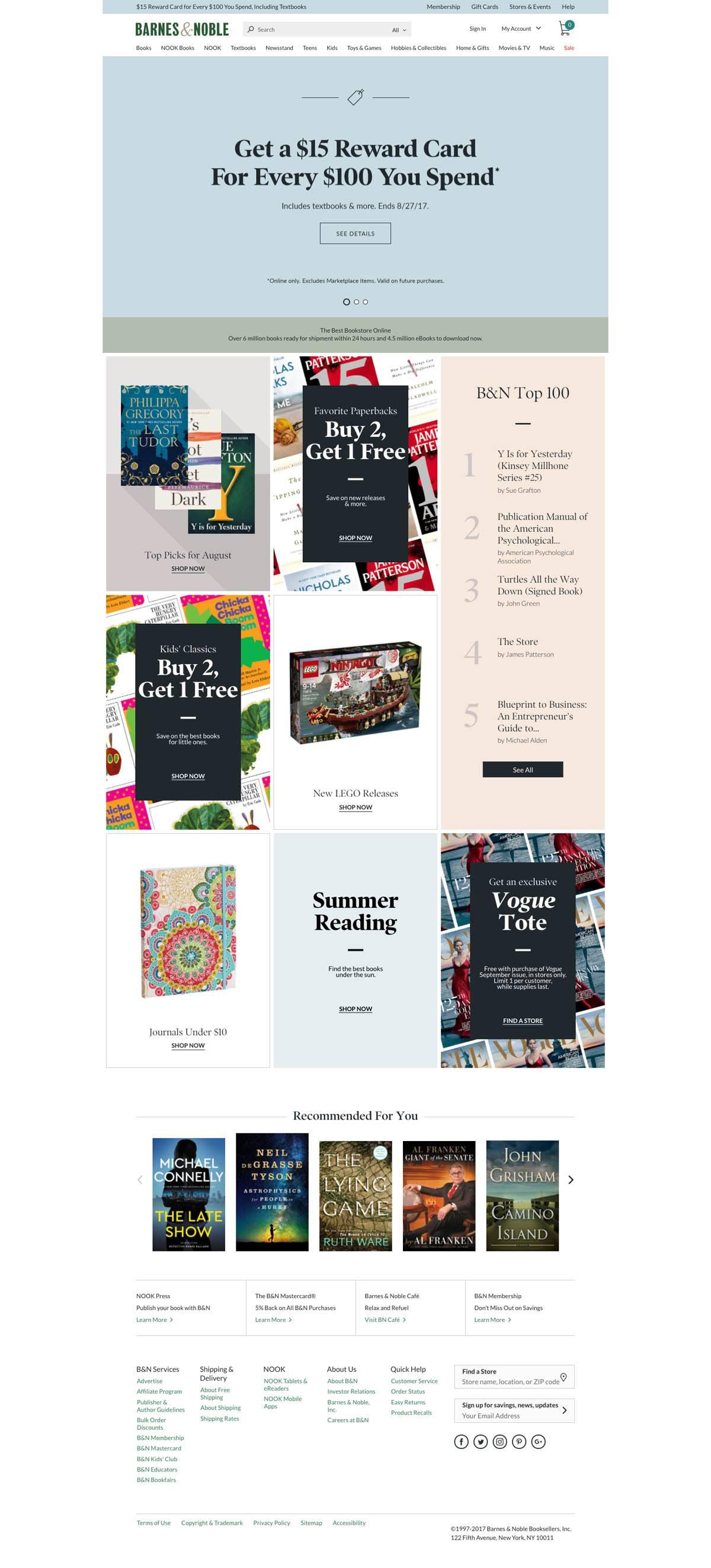 eCommerce website: Barnes & Noble