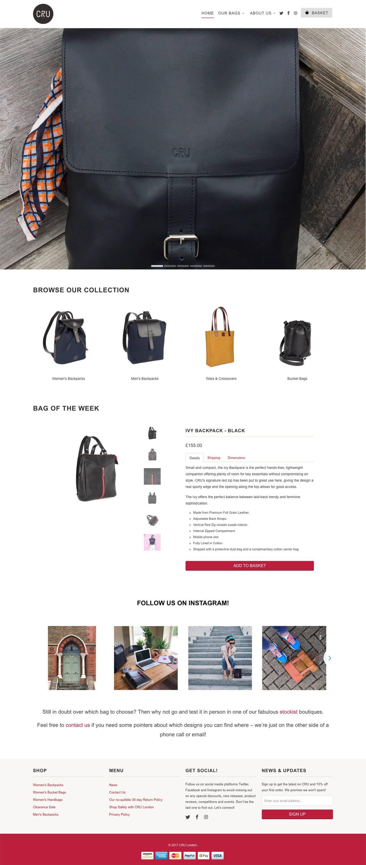 eCommerce website: CRU London