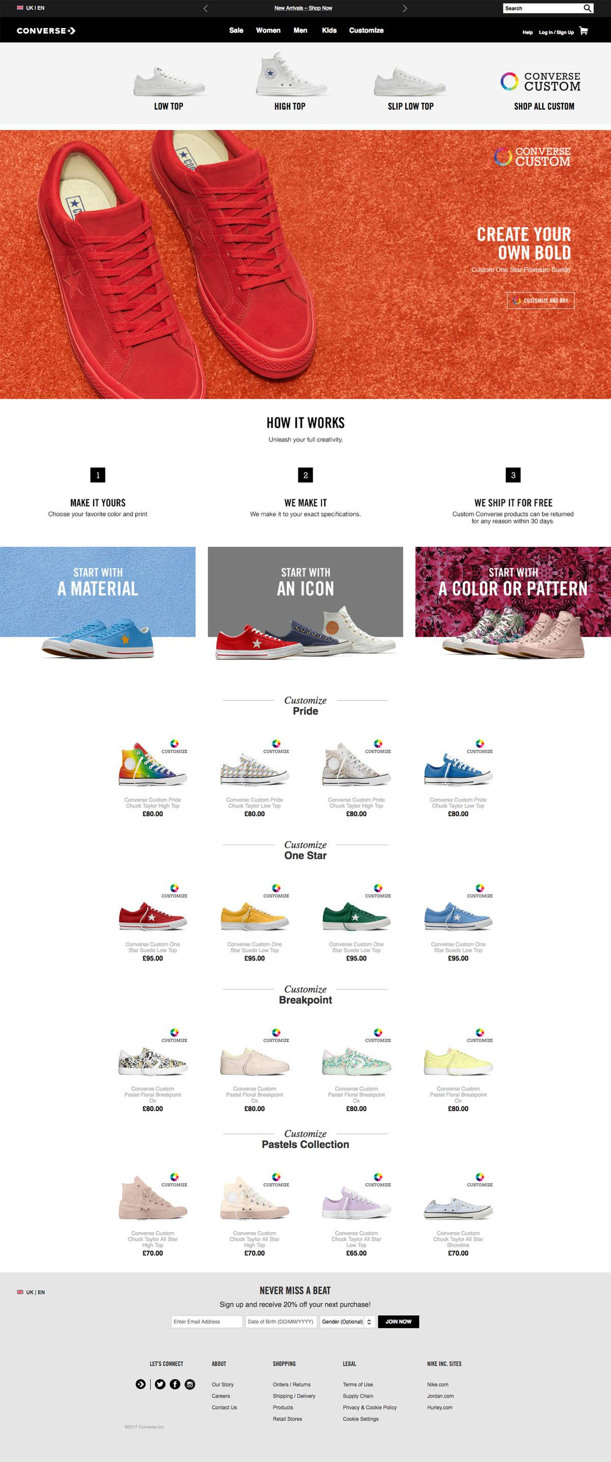 eCommerce website: Converse