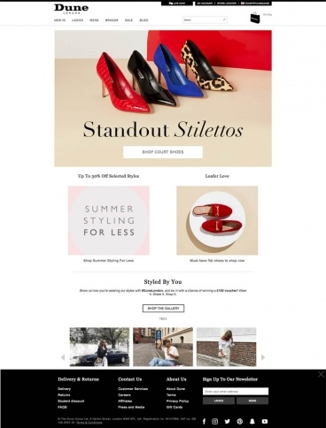 eCommerce website: Dune London