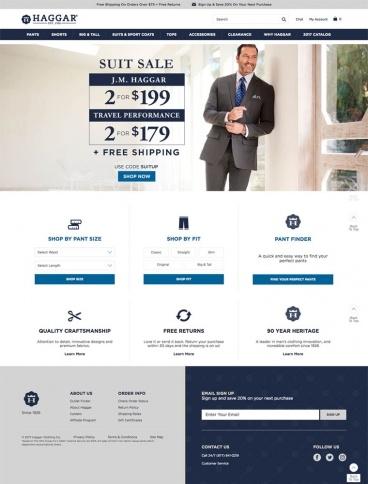 eCommerce website: Haggar Clothing