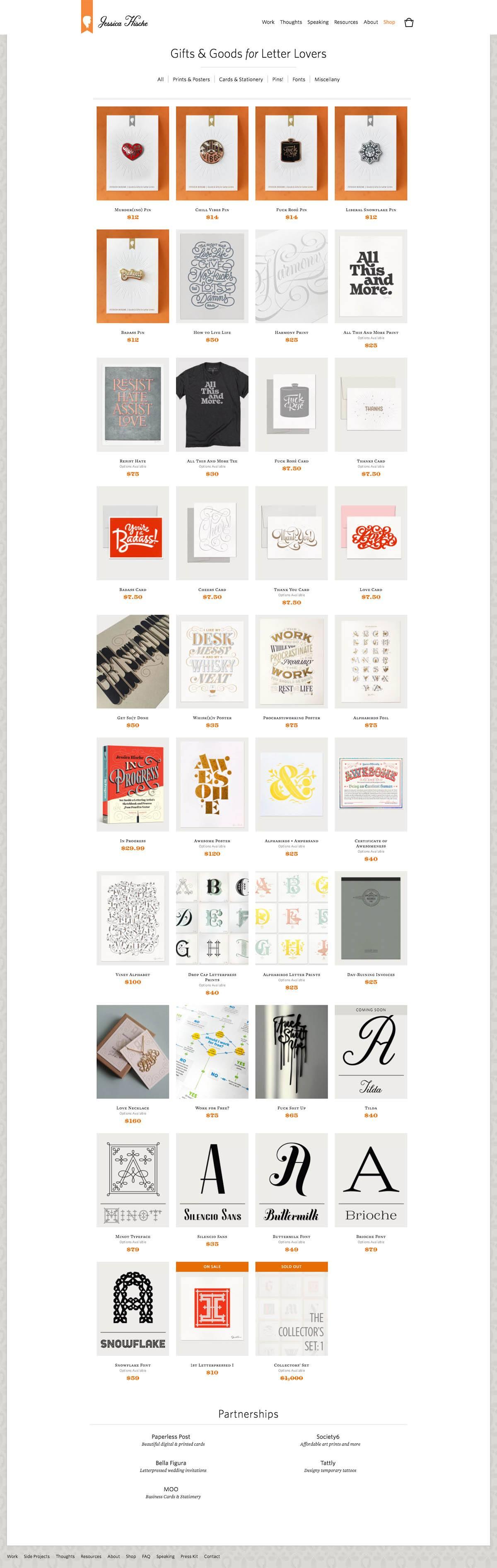 eCommerce website: Jessica Hische
