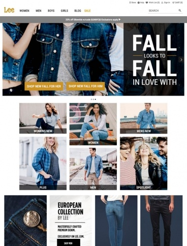 eCommerce website: Lee Jeans