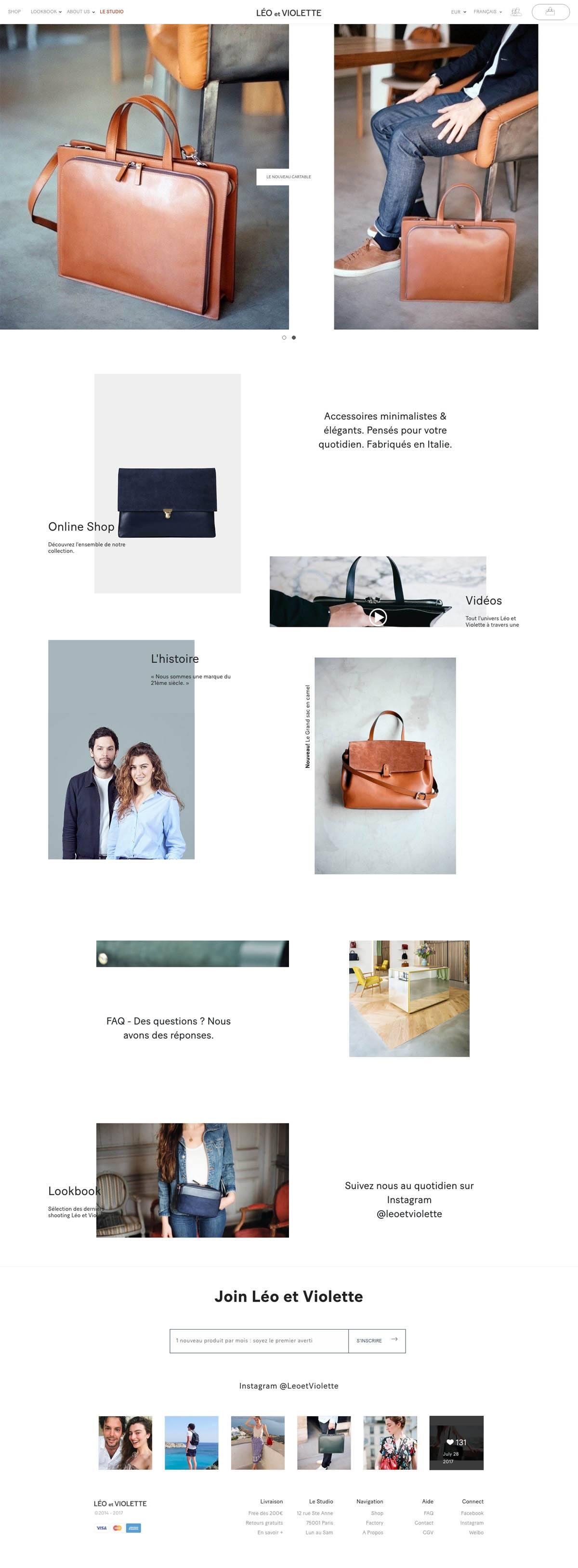 eCommerce website: Leo et Violette