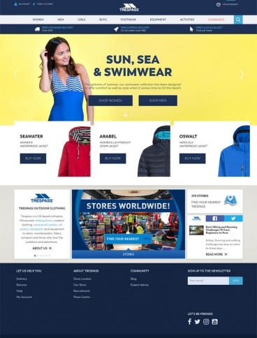 eCommerce website: Trespass