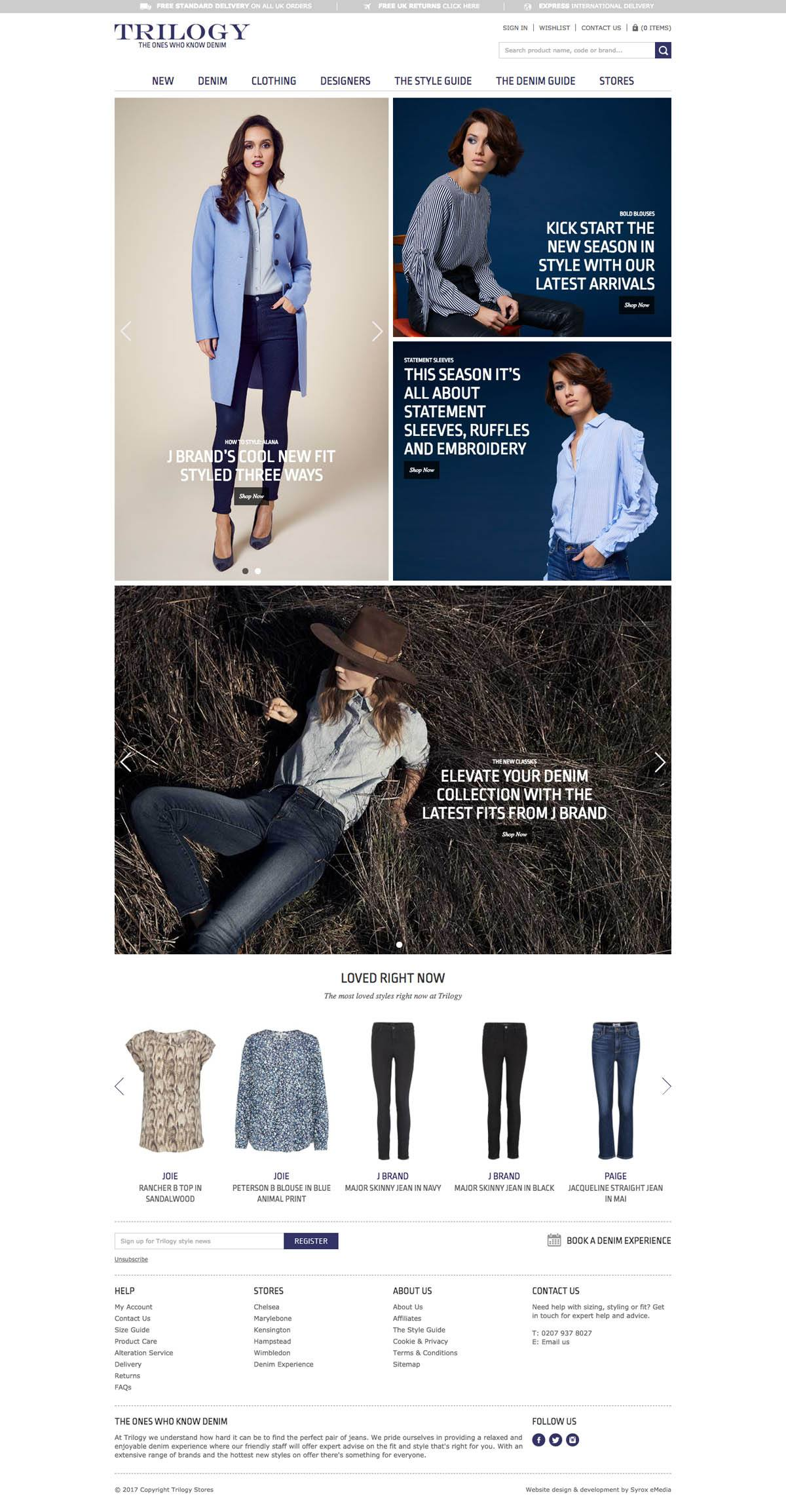 eCommerce website: Trilogy Stores