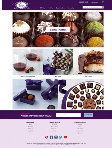 eCommerce website: Vosges Chocolate