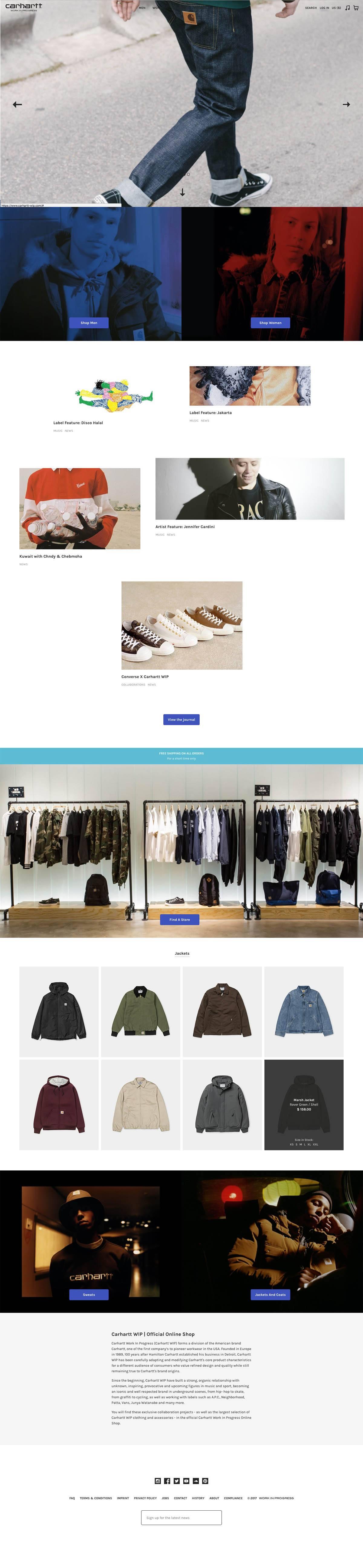 eCommerce website: carhartt