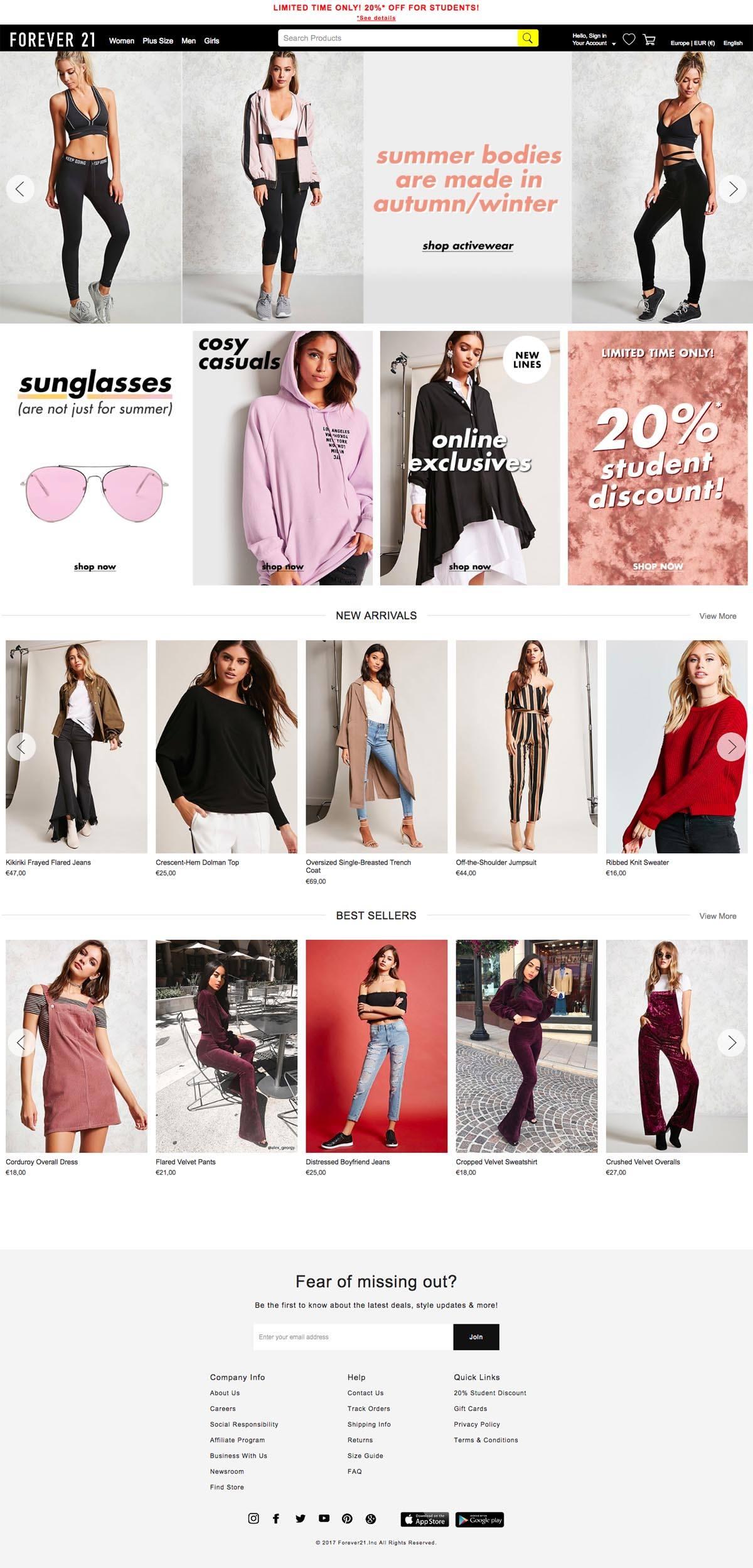 eCommerce website: Forever 21